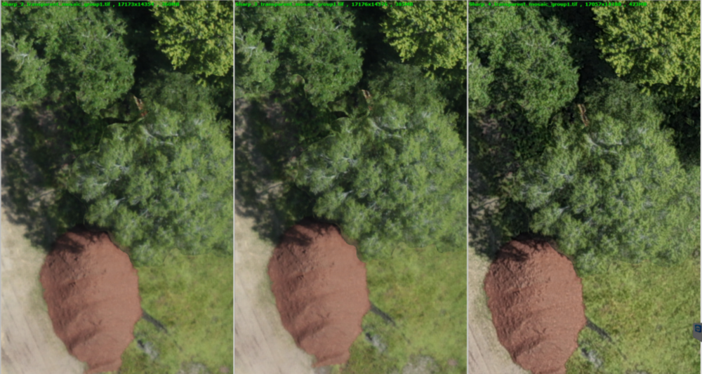 Control (left), default Unsharp Mask (center), maximum Unsharp Mask (right). Halo artifacts around center tree-line decrease as sharpness increases.