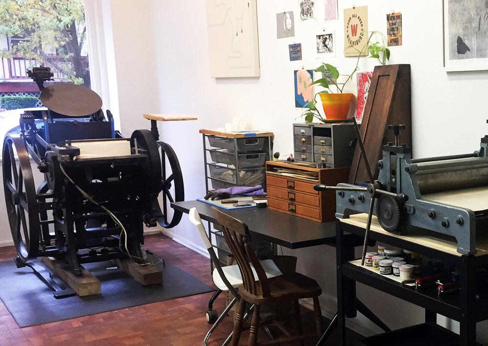 Haylee's studio at Meshwork Press