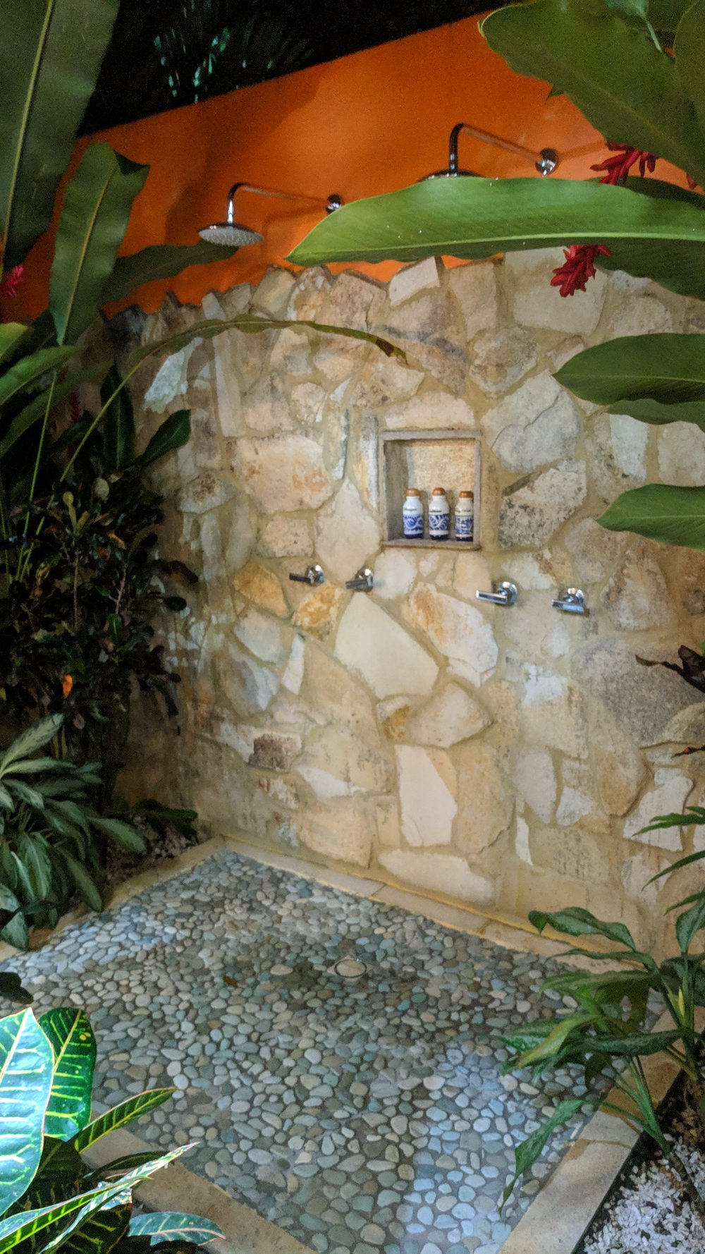 If the large indoor shower wasn't enough, there's also a large outdoor shower.