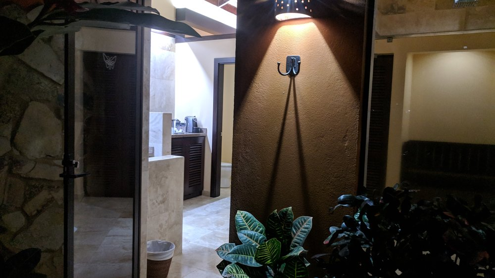 And a spot for your towels. The outdoor shower is just off the bathroom area.