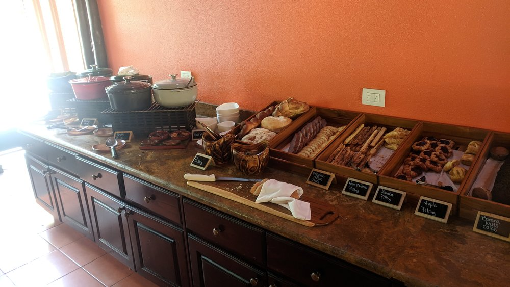 Breads and pastries, and of course rice and beans.