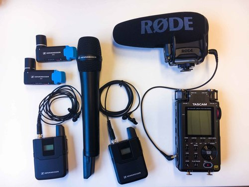 CONTENTS - 1. Canon 5D Mark III2. Canon 24-105 f4 L-lens3. Charger with three batteries.4. MIC Sennheiser AVX handheld microphone5. Two MIC Senneiser AVX transmitters + wireless mic6. Rode VideoMic Pro shotgun and windjammer7. Zoom F1 audio recorder8. Camera tripod (Manfrotto) model bfree9. Xtorm USB laderCamera bag Arri