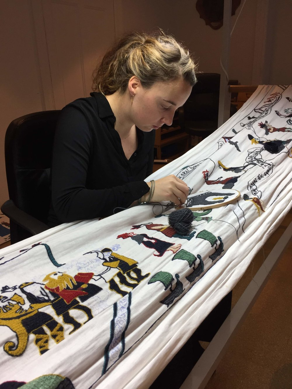Working on the the  tapestry of Vatnsdæla