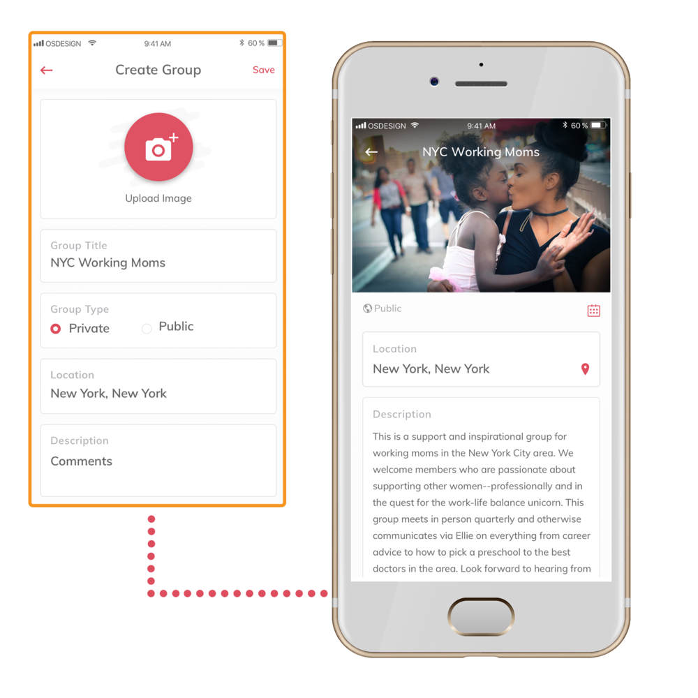 Screenshot of the Create Group screen on the ellie app and the NYC Working Moms group.