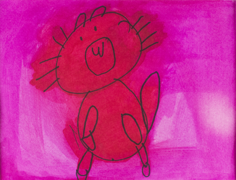 """Red Cat.  Permanent marker and watercolor. 14"""" x 11"""" matted."""