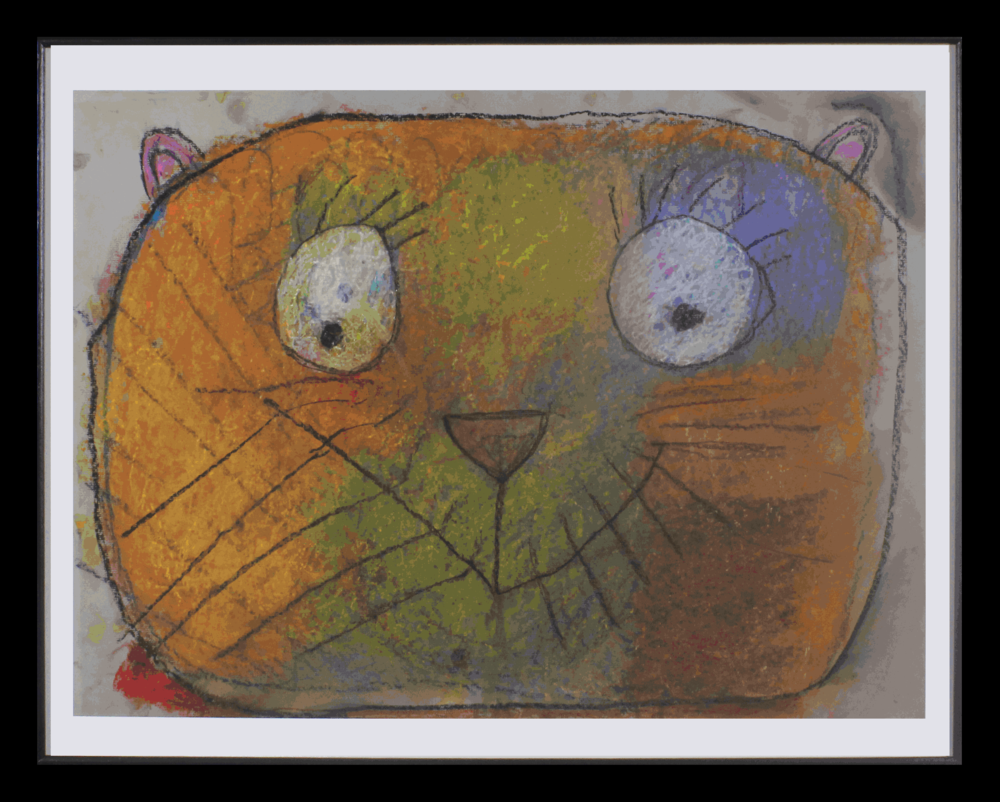 """The Happiest Cat.  Pastel on paper. 24"""" x 18"""" framed."""