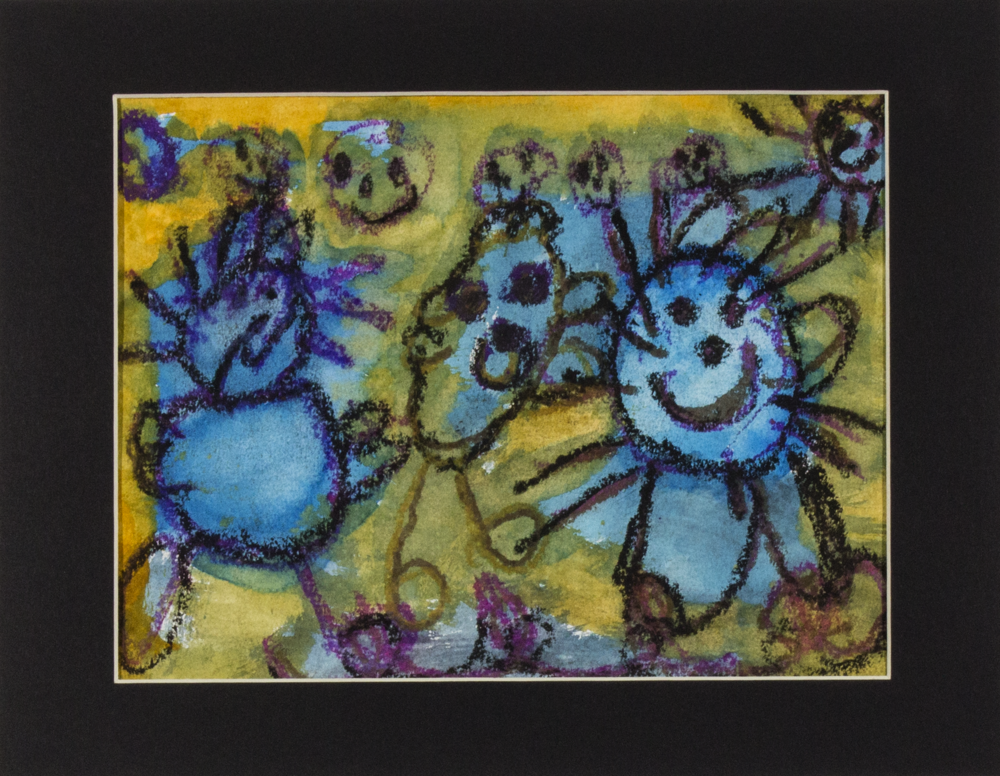 """The Blue Boys . Watercolor and oil pastel on paper. 9"""" x 12"""" matted."""
