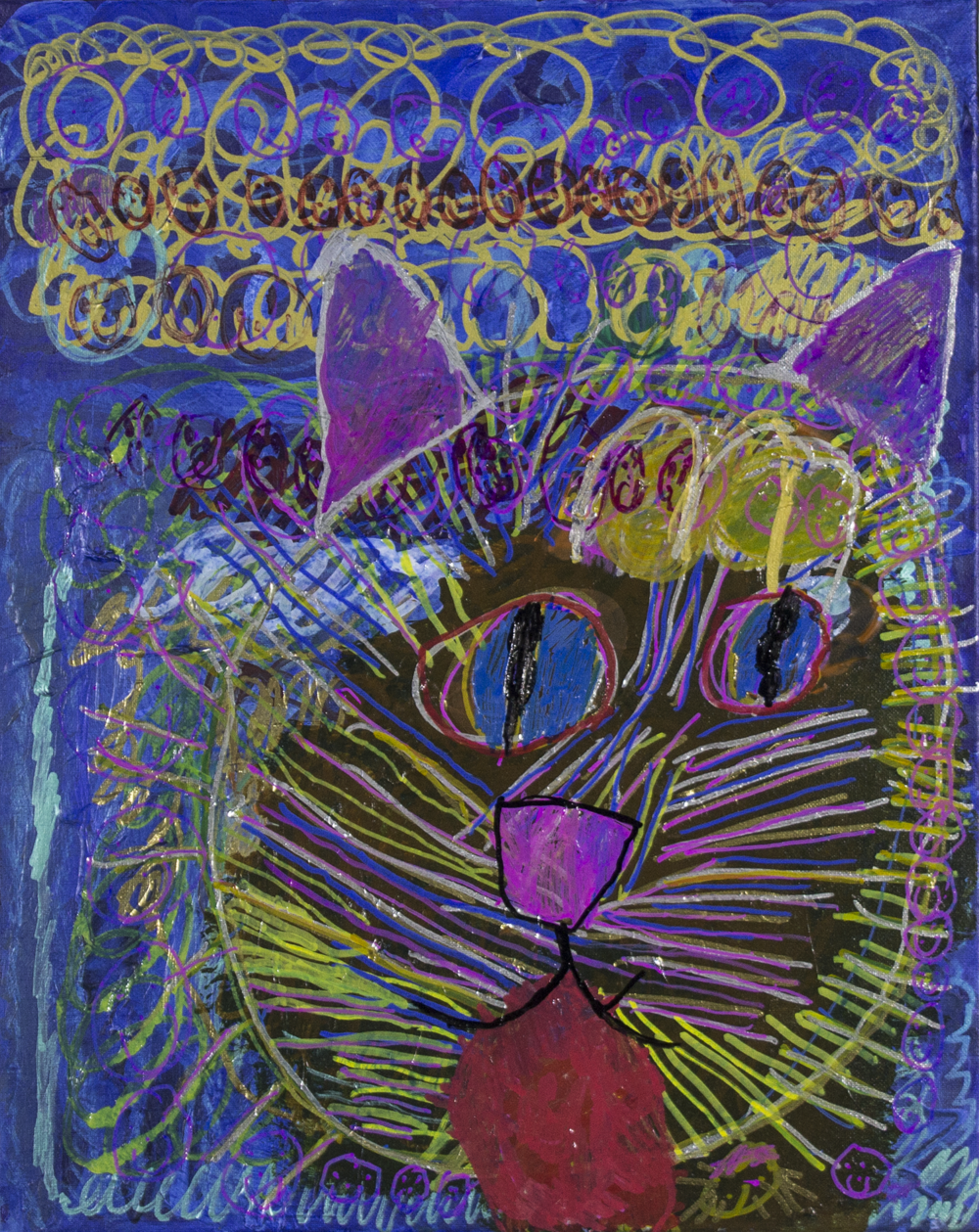 """Wild Cat . 2018. Acrylic paint and paint markers on stretched canvas. 16"""" x 20""""."""