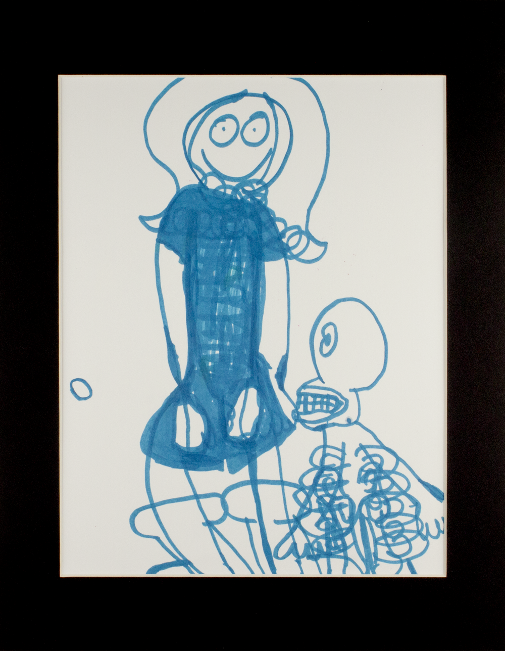 """Creeping Skeleton . Marker on paper. 11"""" x 14"""" matted."""