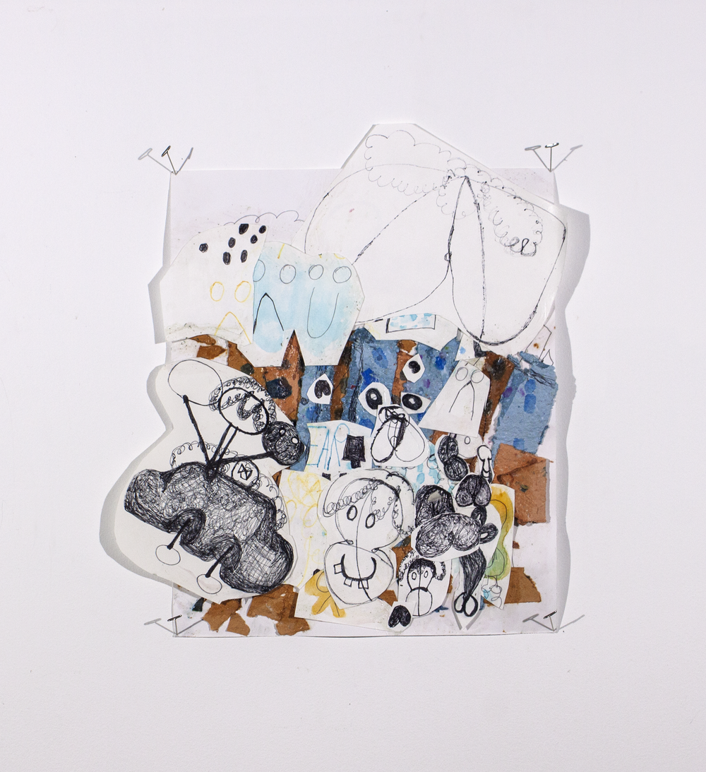 """Art Paper Supply Collage . Handmade paper, ink pen, bristol paper, watercolor paper, and glue. 16"""" x 18.5""""."""