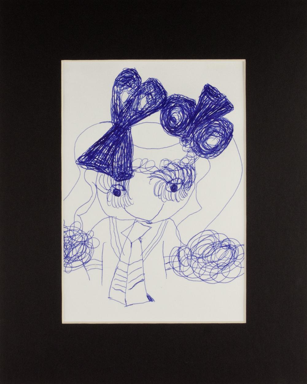 "Cheerleader Doll . Ballpoint pen on bristol paper. 8"" x 10"" matted."