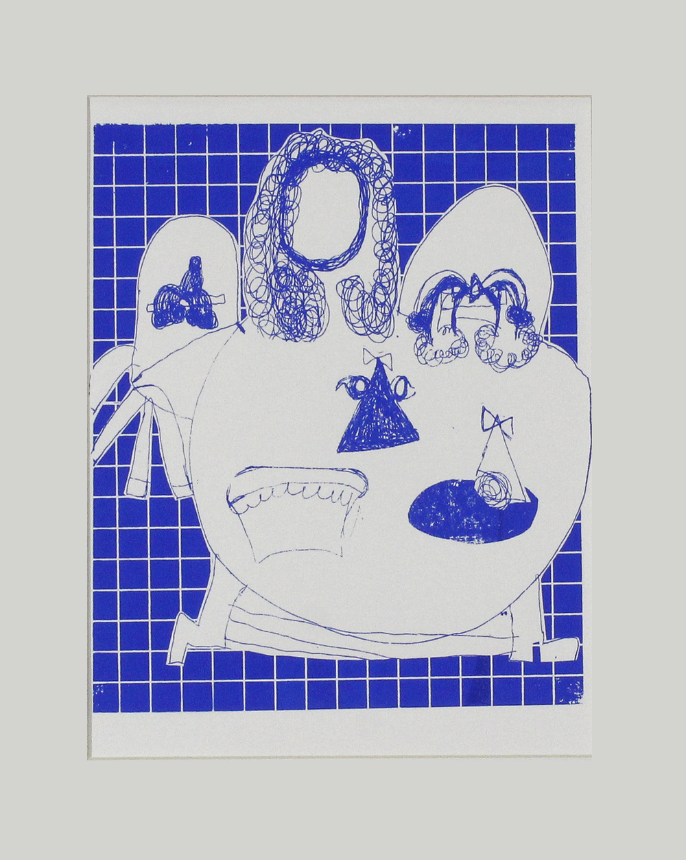 """The Dinner Party . Screen print on paper. 11"""" x 14"""" matted."""
