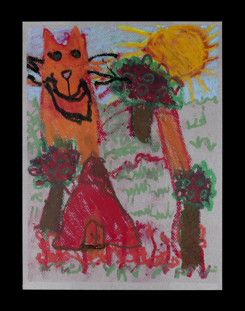 "Apple Tree Farm and Cat . Oil pastel on grey charcoal paper. 11"" x 14"" mounted."
