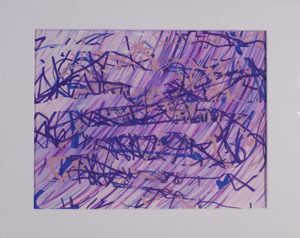 """Girly . Washable marker and paint marker on paper. 14"""" x 11"""" matted."""