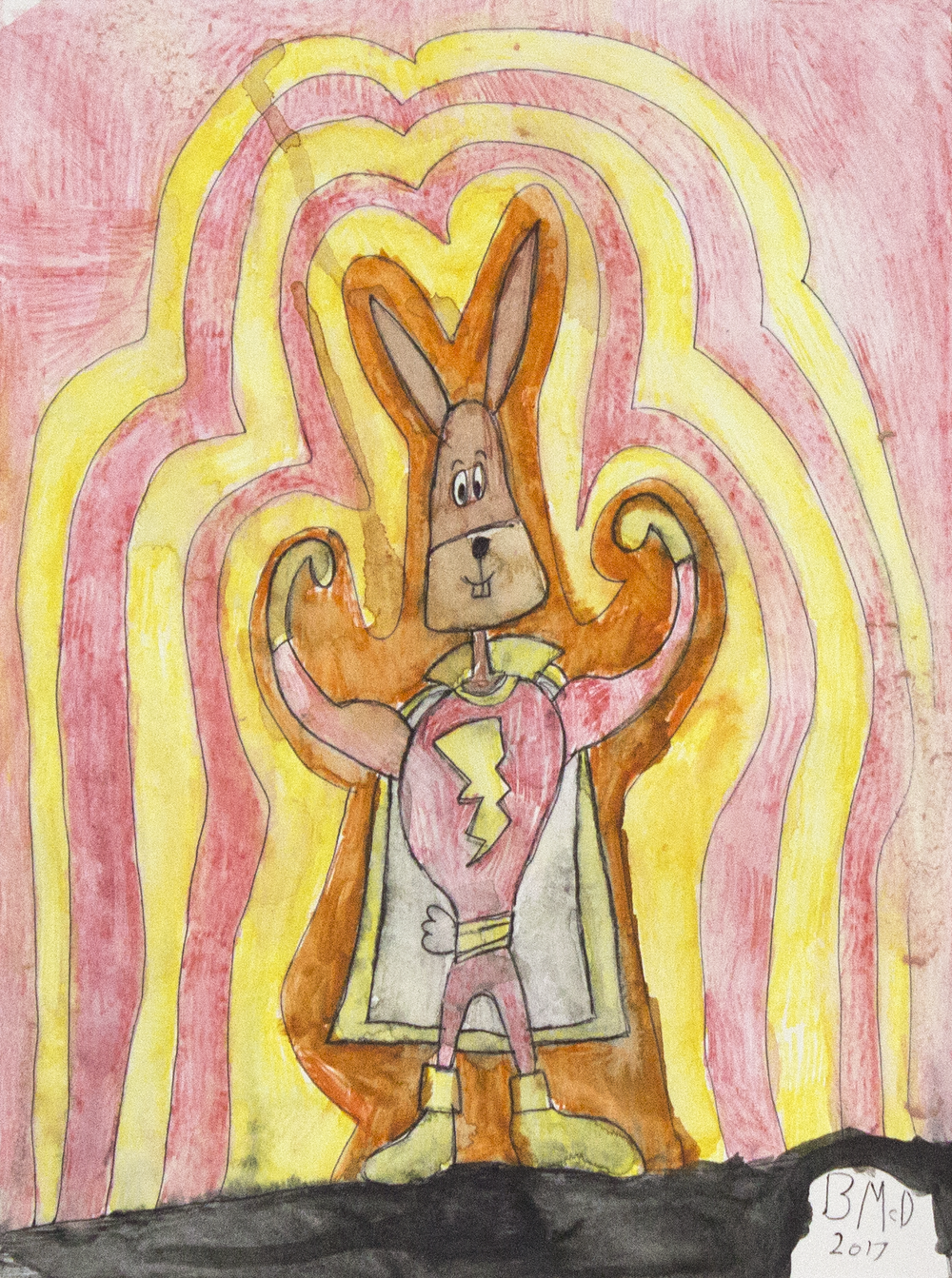 "Hoppy the Marvel Bunny . Colored pencil and graphite. 11"" x 14"" matted."