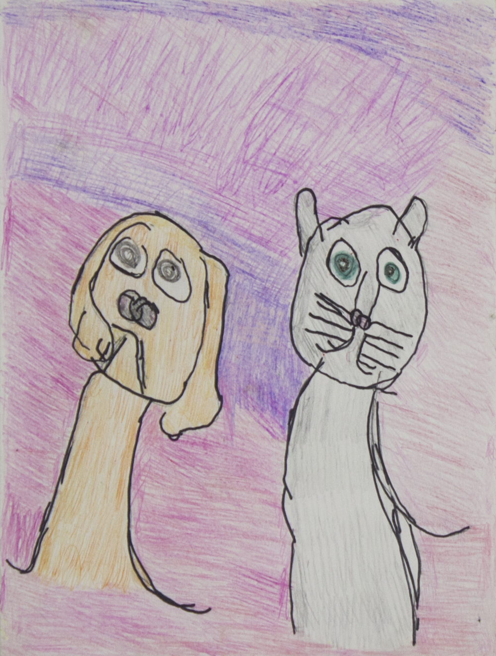 """Cats . 2018. Colored pencil on bristol paper. 9"""" x 12"""" matted."""