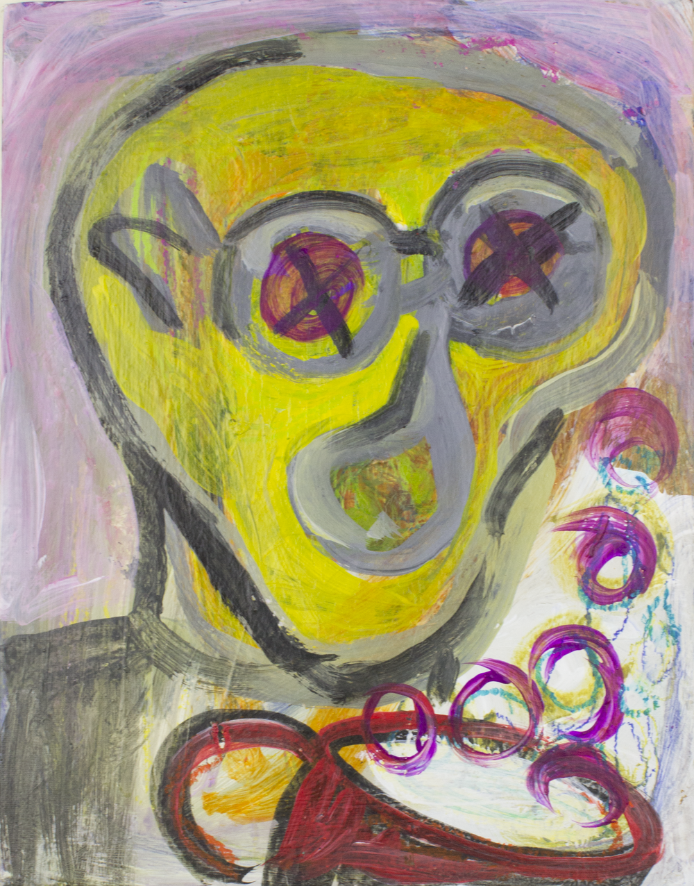 """Drinking Bubbly . Acrylic paint and oil pastel on canvas panel. 11"""" x 14""""."""