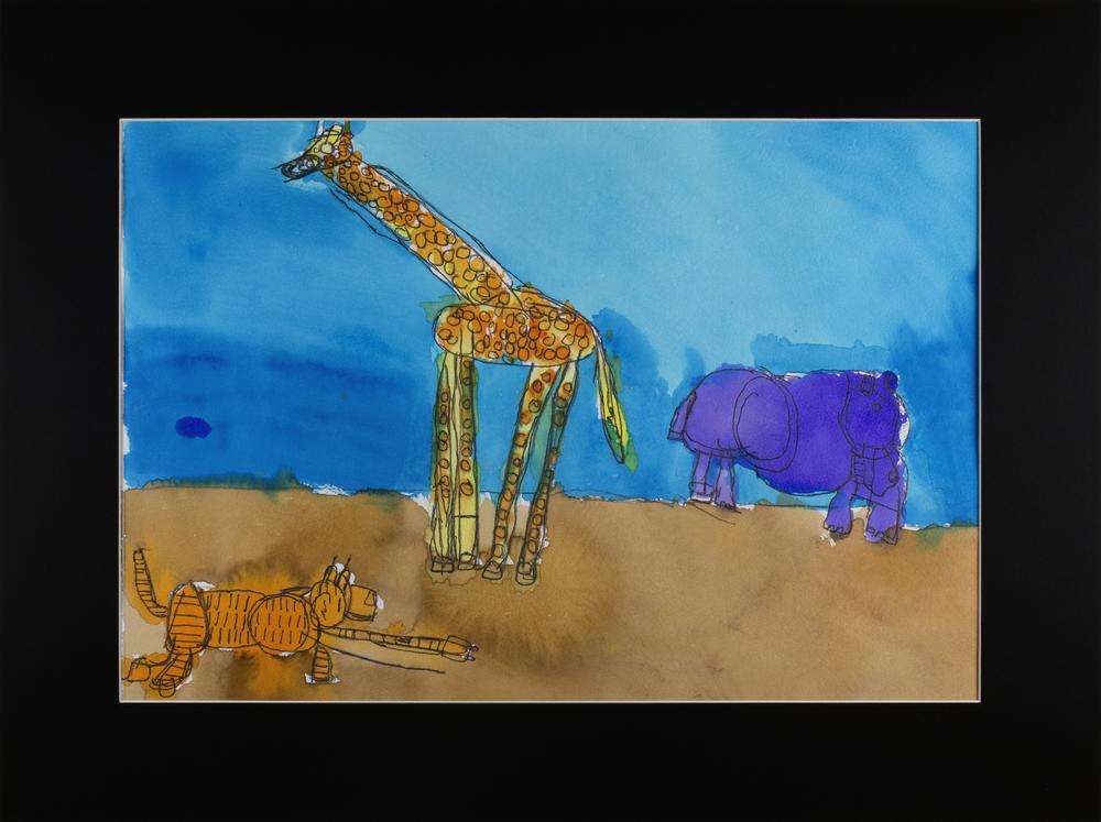 "Safari Animals . Watercolor, ink pen, and graphite pencil on Arches cold press watercolor paper. 20"" x 16"" matted."