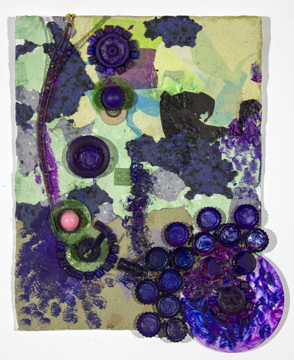 """Eyes . 2017. Handmade paper and found object assemblage on canvas panel. 12"""" x 15""""."""