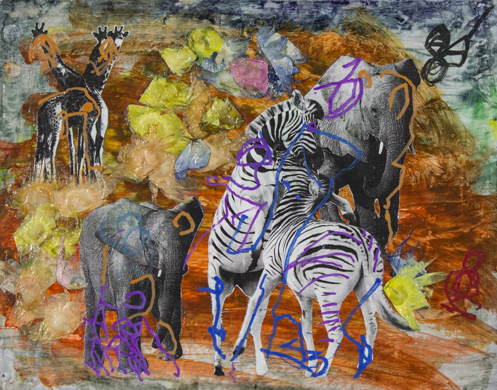 """Jungle Party . Mixed media collage. 14"""" x 11""""."""