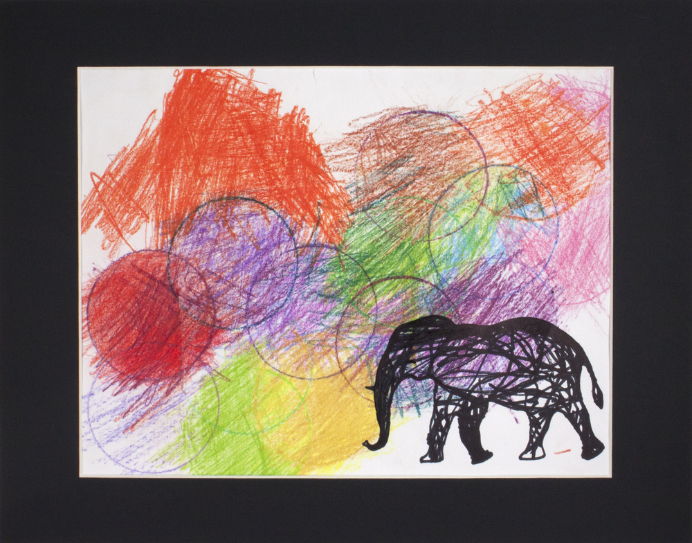 """Wild   Elephant . Permanent marker and colored pencil. 14"""" x 11"""" matted."""