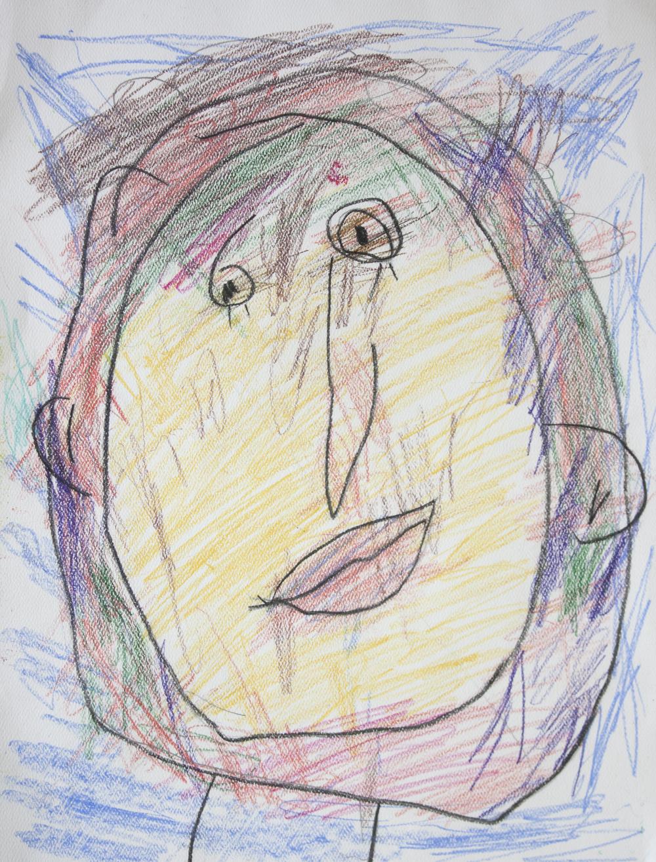 Self-portrait. Colored pencil on paper.