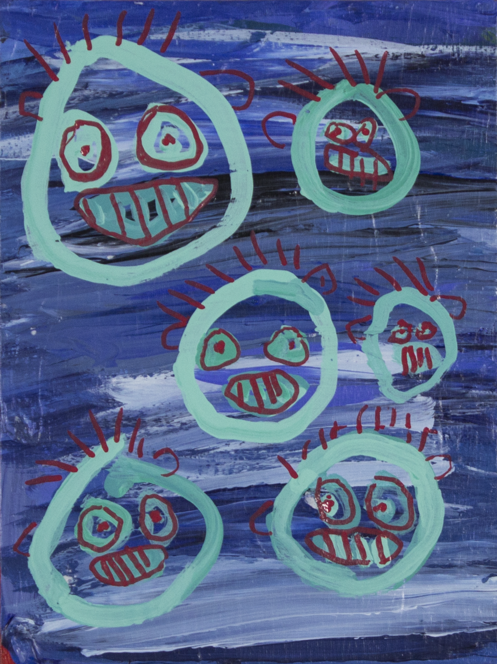 """The Monster Heads . 2018. Acrylic and paint marker on canvas panel. 9"""" x 12""""."""