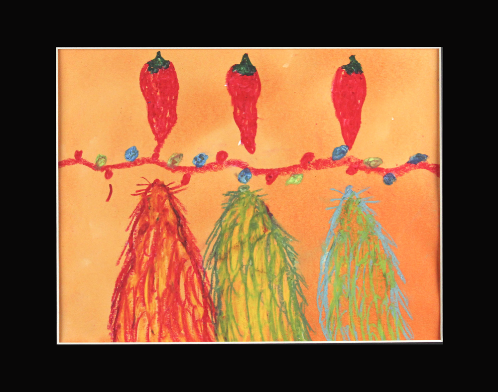 "Mice, Peppers, Lights . Oil Pastel and watercolor. 14"" x 11"" matted."