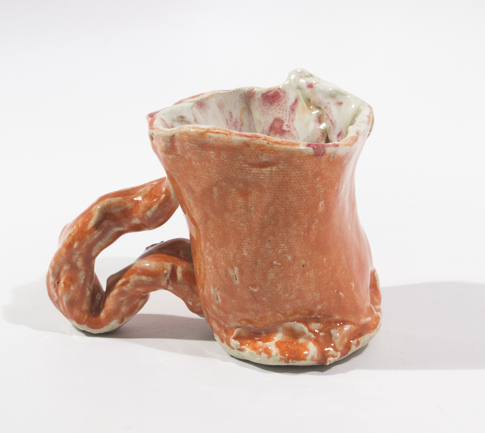 "My Cup.  Stoneware with commercial glazes. 5.75"" x 3.375"" x 4.25""."