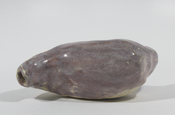 "My Stomach . Stoneware with commercial glazes. 7.25"" x 3"" x 3.25""."