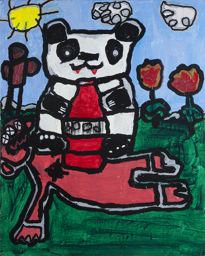 The Killer Vampire Panda . Acrylic and Paint Marker on canvas.