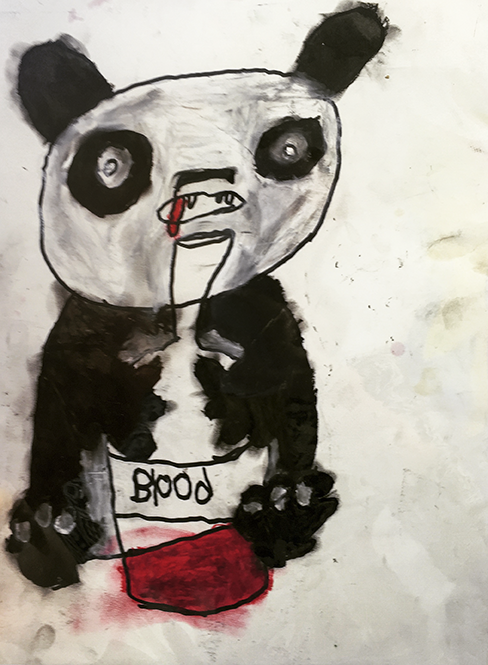 "Vampire   Panda . Permanent marker and oil pastel on bristol paper. 9"" x 12""."