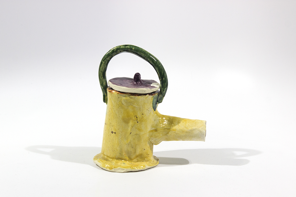 "Tea Pot . Stoneware with commercial glazes. 6.25"" x 3.5"" x 6."