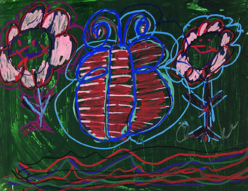 """Butterfly and Flowers.  Acrylic and paint marker on canvas panel. 14"""" x 11""""."""