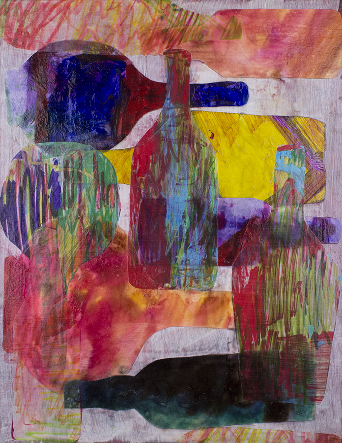 Bottles Piling Up . 2015. Mixed media collage.