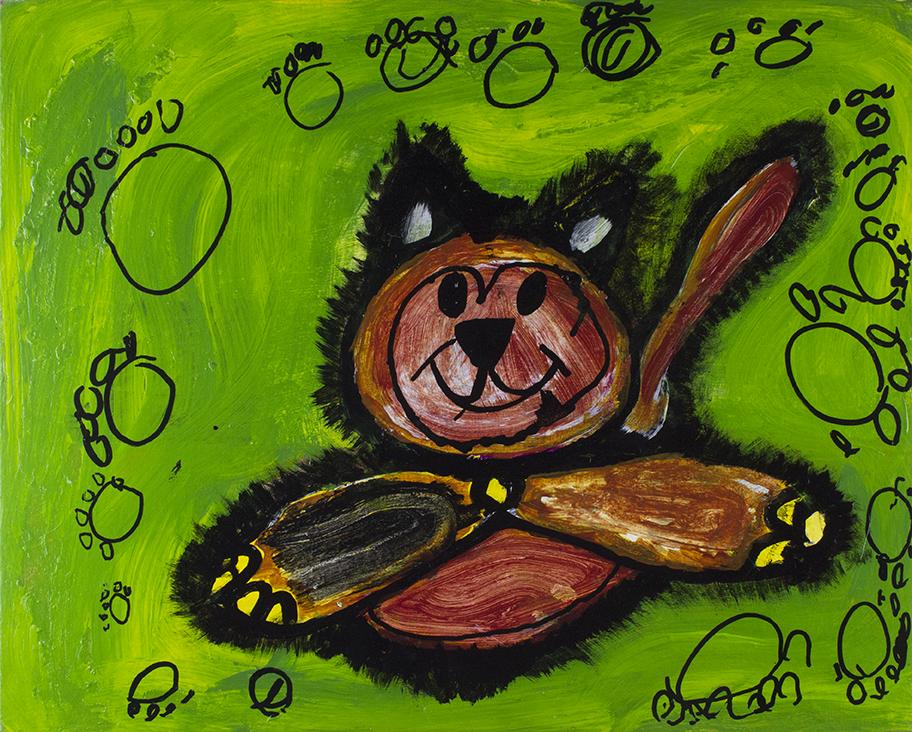 Cat Painting.  Mixed media.