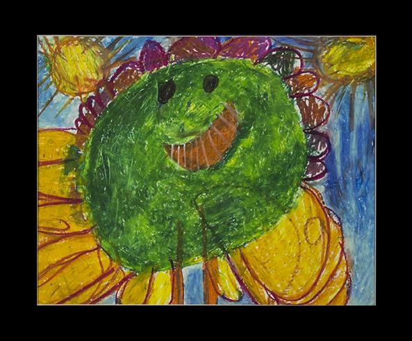 "Flower Girl.  Oil pastel on bristol. 24"" x 20"" matted."