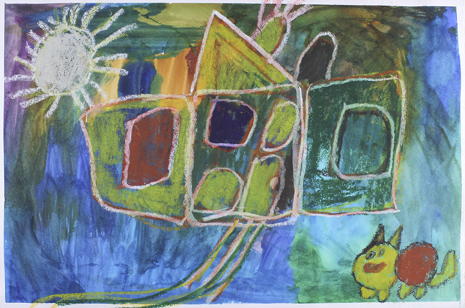 """Dog House . Oil Pastel and Watercolor on paper. 22.5"""" x 14.75""""."""