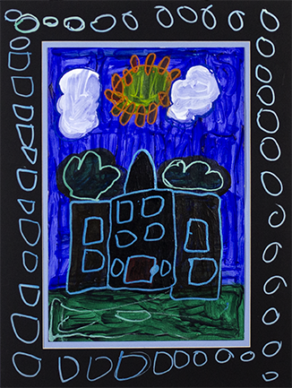 """Sun Shining Over My House.  Acrylic and paint marker on bristol. 18"""" x 24"""" matted."""