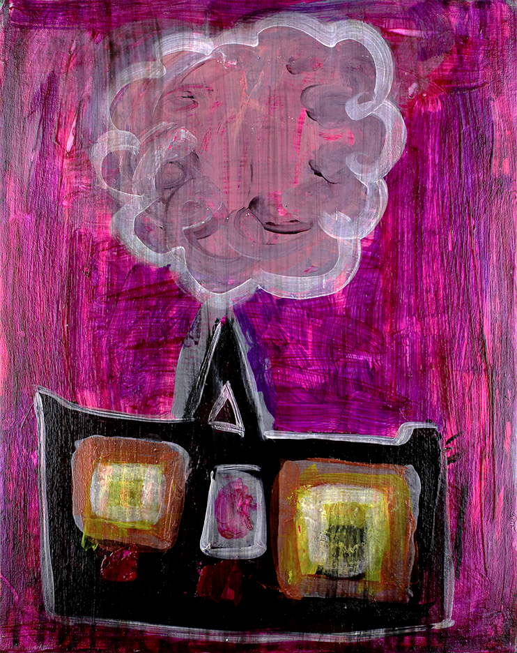 "Home . Acrylic on canvas panel. 16"" x 20""."