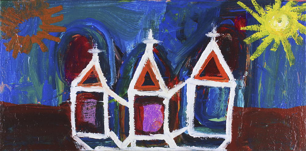 """Take Me To Church.  Acrylic on stretched canvas. 20"""" x 10""""."""