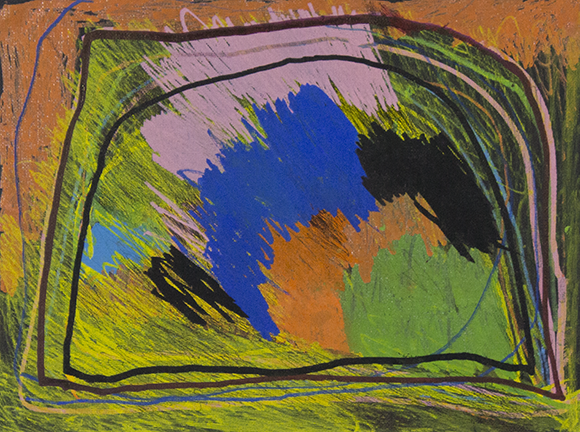 """Color Clouds.  Paint marker on unstretched canvas. 14"""" x 11"""" matted."""