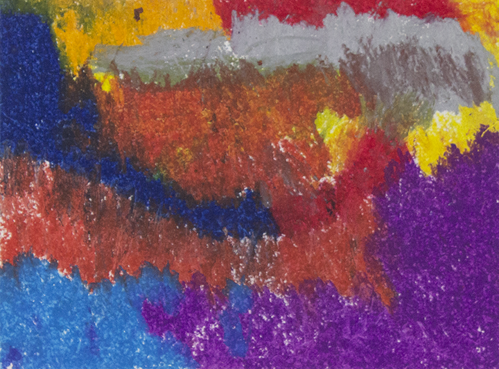 """Fire Storm.  Oil Pastel on paper. 14 """"x 11"""" matted."""