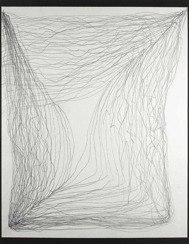 "Graphite Meditation 2 . Graphite on paper. 20"" x 24"" matted."