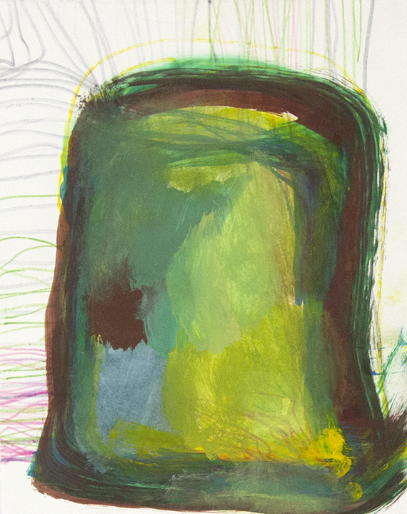 """Just Green.  Mixed media on paper. 9"""" x 12""""."""