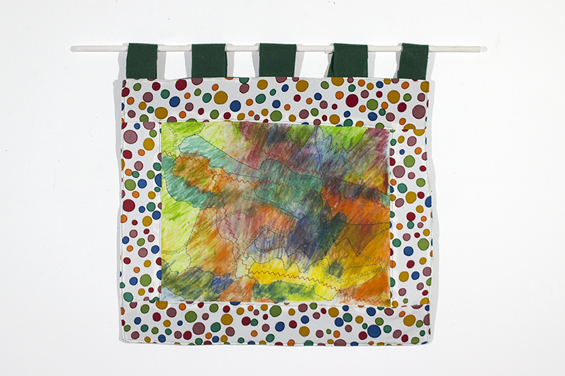"""Tapestry . Fabric pastel, machine embroidery, cotton, and felt. 22.25"""" x 19.125""""."""