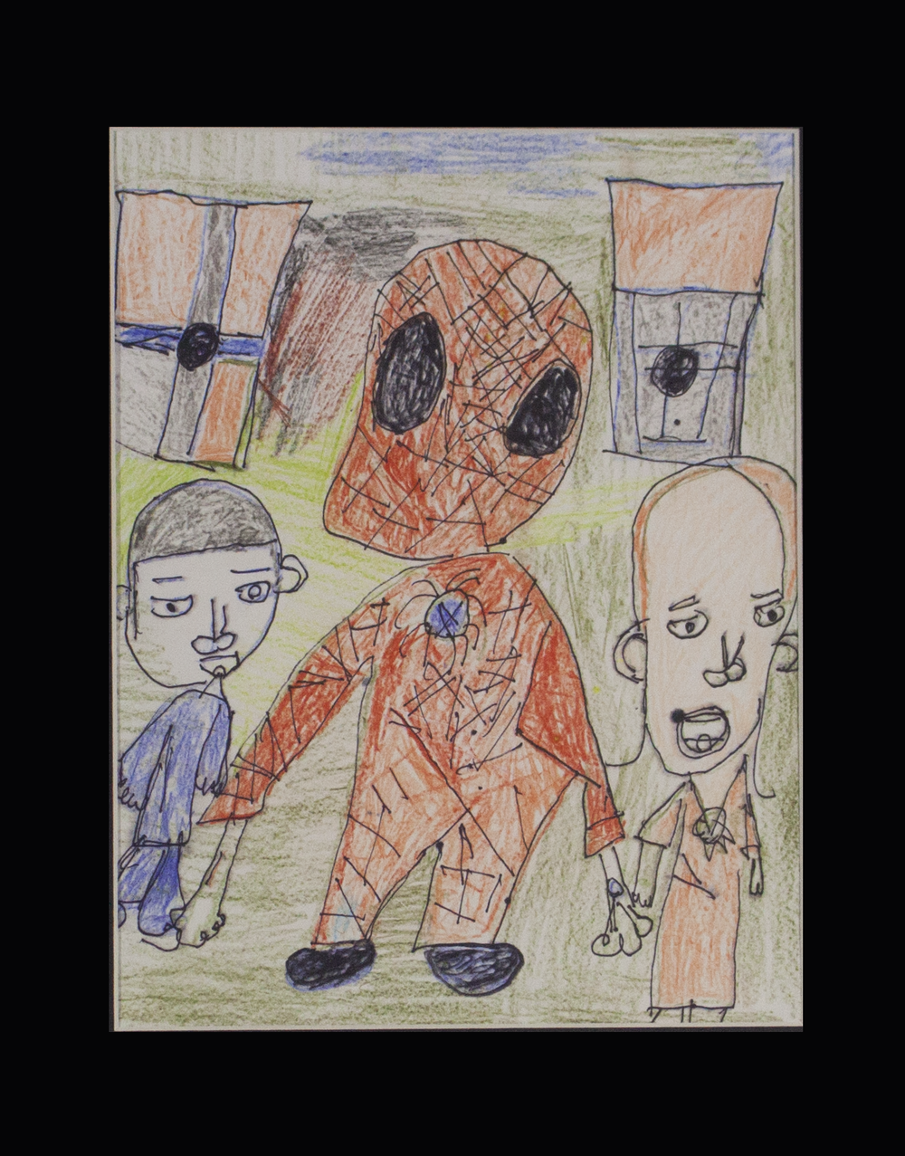 """Spider-Man and His Family . Colored pencil and sharpie on paper. 11"""" x 14"""" matted."""