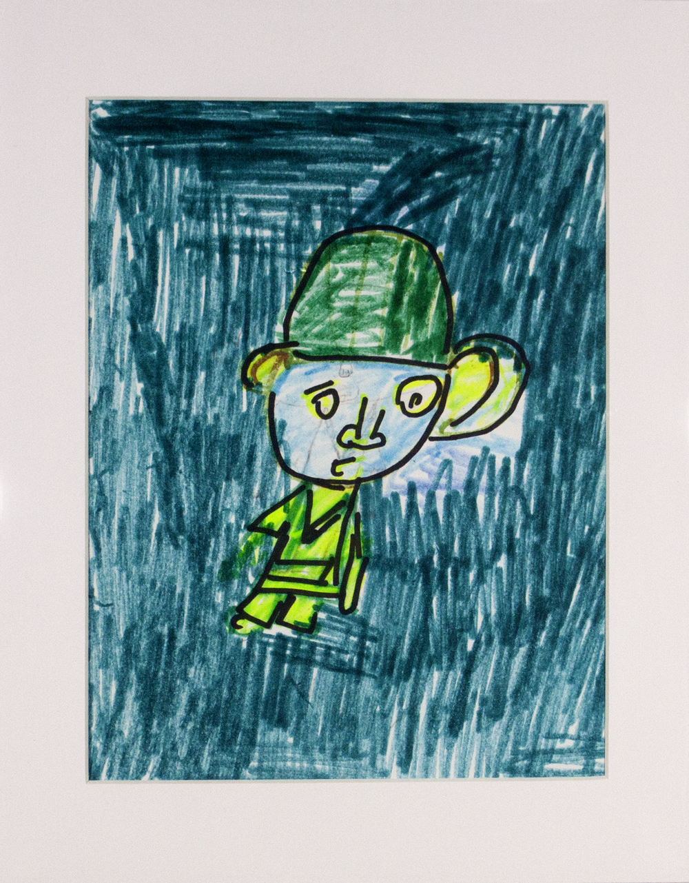 """Green   Man . Marker and sharpie on paper. 11"""" x 14"""" matted."""