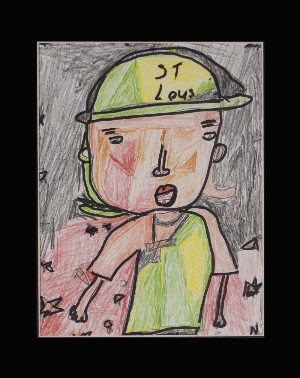 """St. Louis Man . Colored pencil and sharpie on paper. 11"""" x 14"""" matted."""