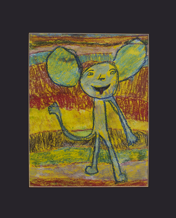 """Mickey . Oil pastel on paper. 16"""" x 20"""" matted."""